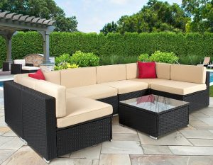 Best ChoiceProducts 7 Piece Outdoor Patio Garden Furniture Wicker Rattan Sofa Set