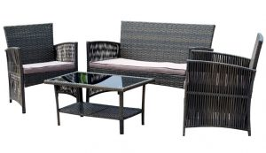 Cheap rattan garden furniture - EBS 4-Piece Outdoor Garden Rattan Wicker Patio Furniture Set
