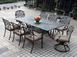 Elizabeth Cast Aluminum Powder Coated 9 Piece Dining Set