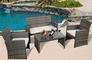 GoPlus 4PC Wicker Rattan Patio Cheap Porch Deck Furniture Set Outdoor Lawn