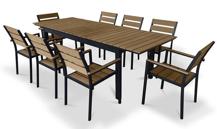 UrbanFurnishing.net - 9 Piece Poly Wood Extendable Outdoor Patio Dining Set