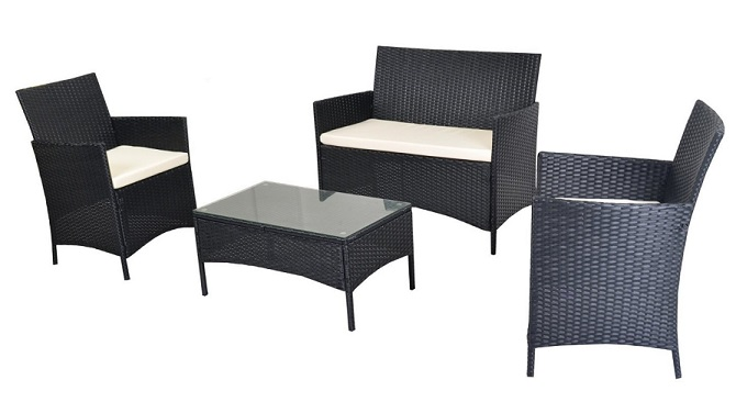 Cheap patio furniture sets - EBS 4 Piece Outdoor Garden Rattan Patio Wicker Furniture Lawn Set