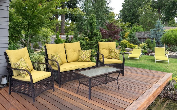 Sol Siesta Clubhouse 4 Piece Wicker Deep Seating Patio Conversation Set