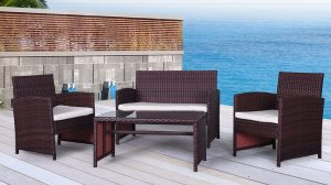 The Bora-Bora Collection - 4 Pc Outdoor Rattan Wicker Sofa Patio Furniture Set
