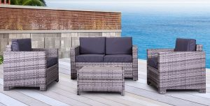 The Eden Rock Collection - 4 Pc Outdoor Rattan Wicker Sofa Sectional Patio Furniture Set