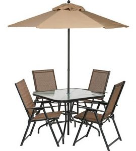 6 Piece Outdoor Folding Patio Set - Outdoor Patio Dining Sets