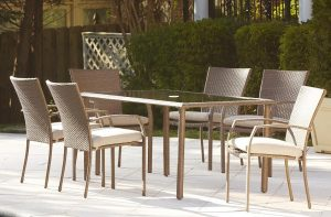 Cosco Outdoor 7 Piece Lakewood Ranch Steel Woven Wicker Patio Dining Set