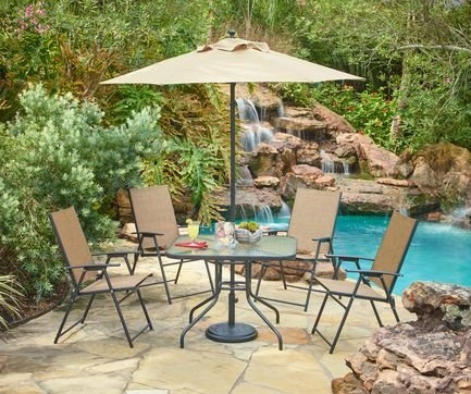 Outdoor 6-Piece Folding Patio Dining Furniture Set with Umbrella