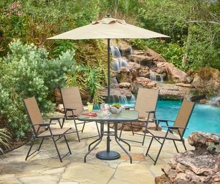 Outdoor 6-Piece Folding Patio Dining Furniture Set with Umbrella